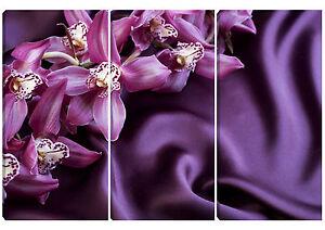Quadro moderno orchidea viola 3pz 80x120 arredo casa bar ufficio