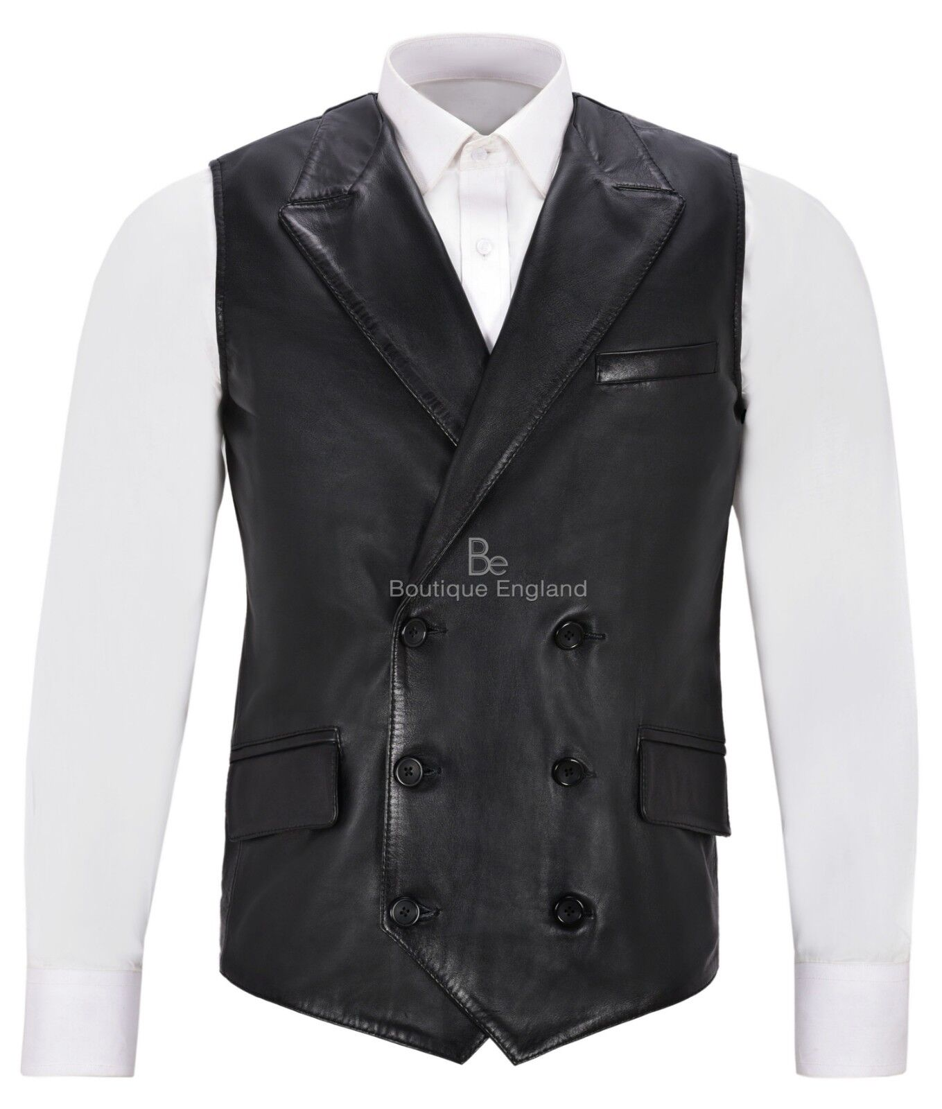 Mens Fine Italian Real Leather Double Breasted Lapel Waistcoat 1642 Vest