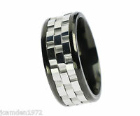 Three Part Spinner Stainless Steel Mens Ring Size 12