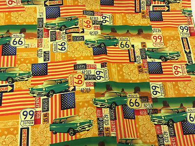 Route 66 USA Flags Printed 100/% Cotton Poplin Fabric. American Cars