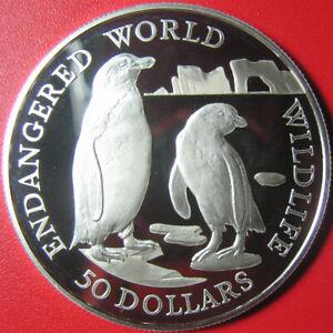 1990-COOK-ISLANDS-50-SILVER-PROOF-JACKASS-PENGUINS-ICEBERG-ENDANGERED-WILDLIFE