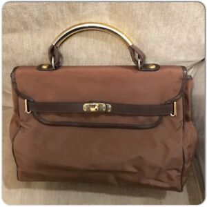 Authentic-Moschino-Redwall-Vintage-Brown-Nylon-Leather-Satchel-Bag