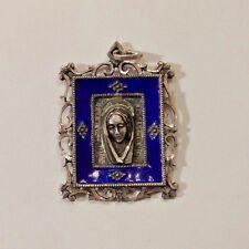 STERLING SILVER & COBALT BLUE ENAMEL ST. MARY PENDANT.