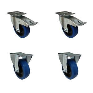 Set 160 mm Blue Wheels Elastik Rollen als Lenkrollen 2B+2LDS Transportrollen