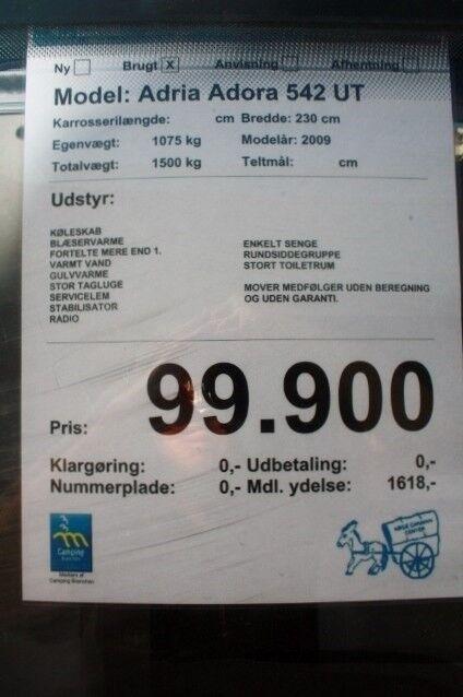 Adria ADORA 542 UT, 2009, kg egenvægt 1075