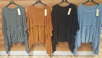 Italian Ladies Plus Size Oversized Lagenlook Boho Knitted Floaty Top Tunic