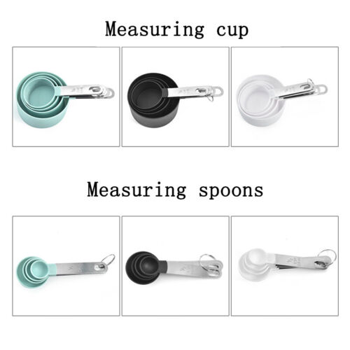 PP 4Pcs Measuring Cups Spoons Baking Cooking Kitchen Tools Set Stainless Steel