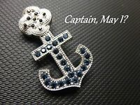 Rocslide Captain May I W/ Blue & Red Czechoslovakian Crystals Pin / Brooch