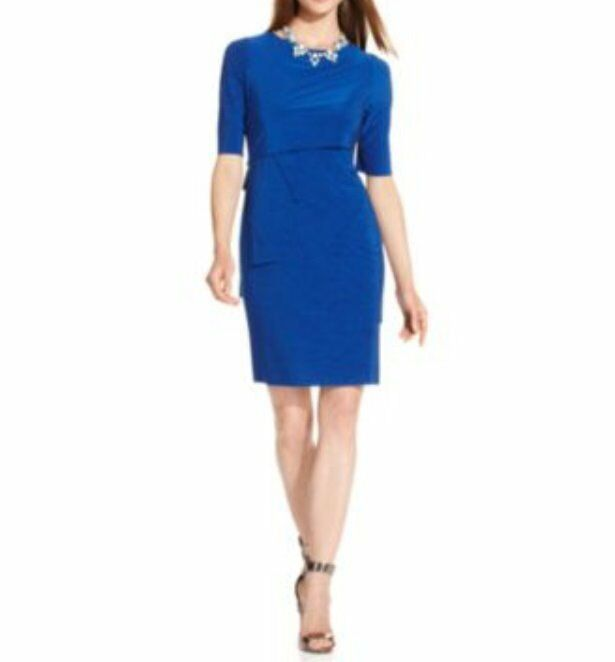 Tahari ASL Dress Sz 16 Cobalt Blau HOLLIANNE Tierot Jersey Career Cocktail Dress