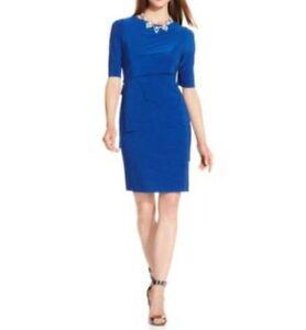 Tahari-ASL-Dress-Sz-16-Cobalt-Blue-HOLLIANNE-Tiered-Jersey-Career-Cocktail-dress