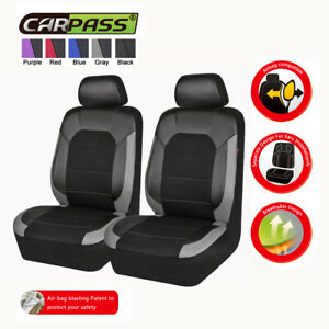 Universal-2-Front-Car-Seat-Covers-Black-Grey-Leather-Mesh-for-SUV-Truck-Sedan