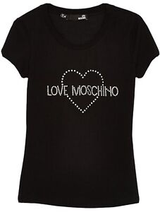 BNWOT LOVE MOSCHINO women's fitted heart embellished logo T-shirt in Black szUS8