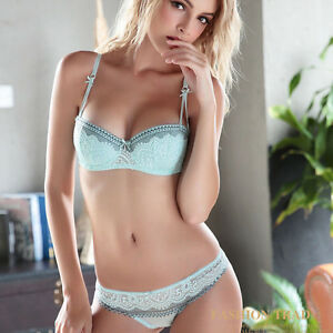 ba79b04f1 Women 1 2 Cup Lace Underwear Push up Bra Cute Lingerie Brief ...