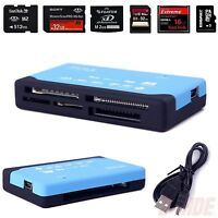 Blue 26-in-1 USB 2.0 Memory Card Reader Multi SD SDHC MMC Micro/Mini MS M2 TF XD
