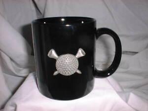 GOLF-BALL-amp-GOLF-TEES-GOLFER-Coffee-Mug-3D-Pewter-amp-Black-Ceramic-NWOT