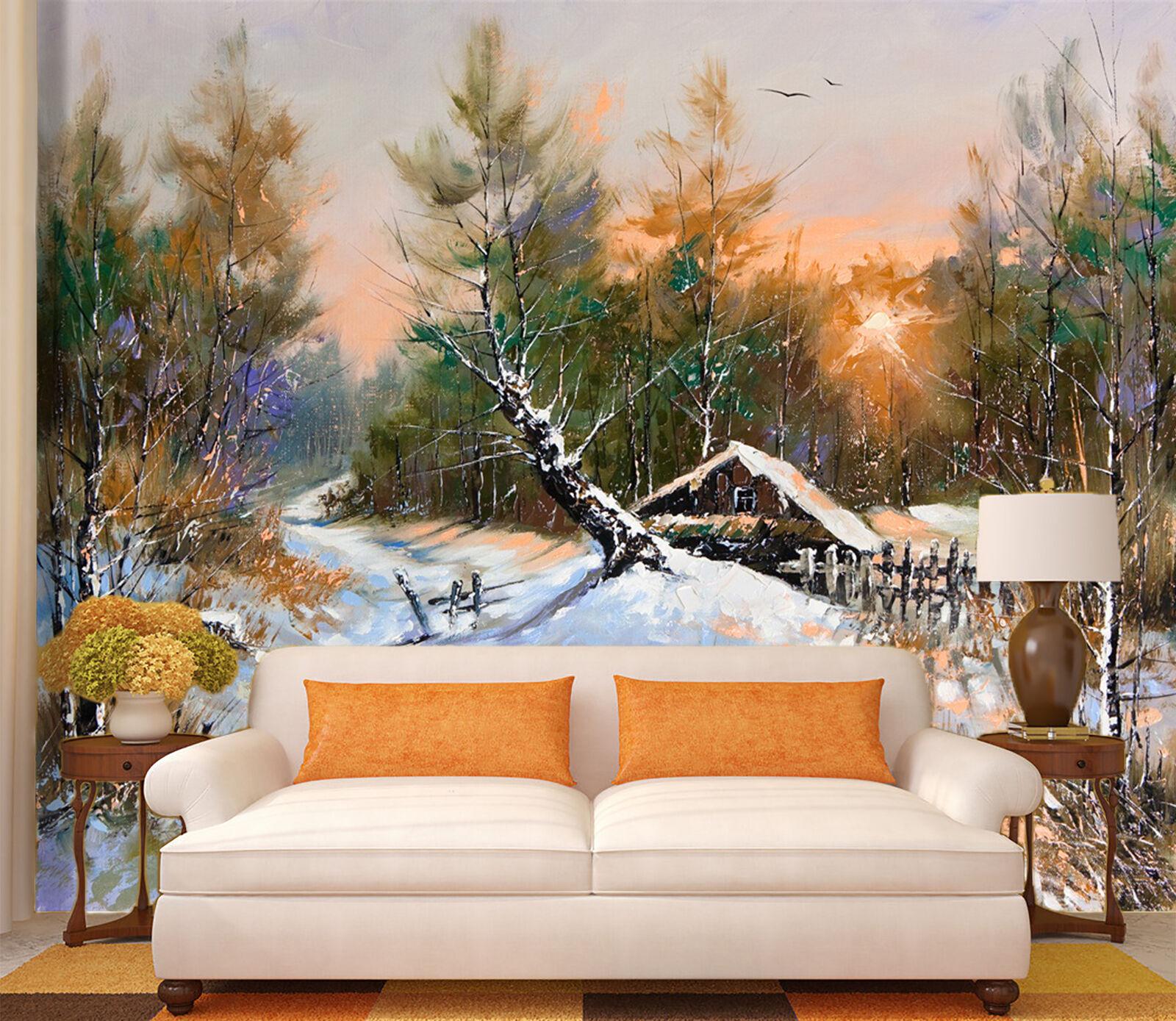3D Forest Cottage 059 WallPaper Murals Wall Print Decal Wall Deco AJ WALLPAPER