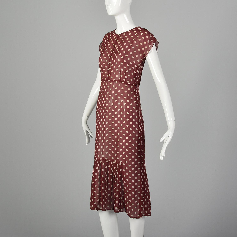 XXS 1930s Red Dress White Polka Dot Sheer Silk Ch… - image 2