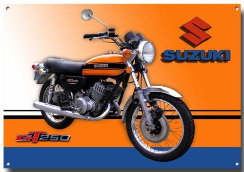 LGE A3 SIZESUZUKI GT 250 CLASSIC MOTORCYCLE ENAMELLED METAL SIGN.GARAGE SIGN.