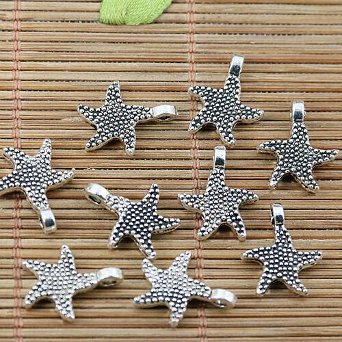 20pcs tibetan silver plated 2sided starfish charms EF1923
