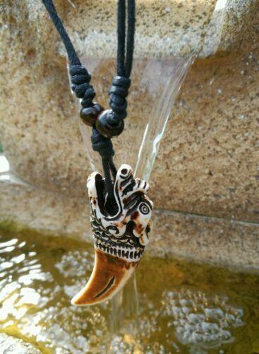 Collar De Dientes tallada dragon Totem pendiente ajustable padres día chicos 834