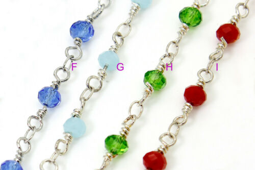 PCH01 Crystal Rosary Chain Silver Plated 3 mm Beaded Necklace Bracelet 1 Feet