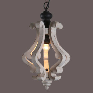 Details About Shabby Chic Distressed White Wooden Ceiling Lamps Scrolled Arms Pendant Lighting