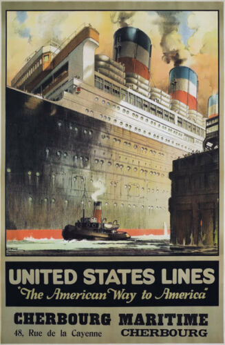 TX204 Vintage United States Line Cruise Ship Liner Travel Poster A2//A3//A4