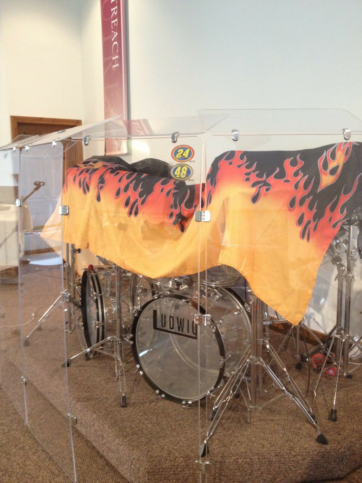 Drum Shields Drum Panels Six - 2 ft. x 4ft. Panels w  Deflektoren 5ft Tall