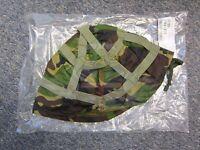 NEW BRITISH ARMY SURPLUS WOODLAND DPM HELMET COVER, MK.6 KEVLAR & PARA,P HELMET