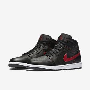 Nike Air Jordan 1 MID Retro Black/Red/White 554724-009 Size 8