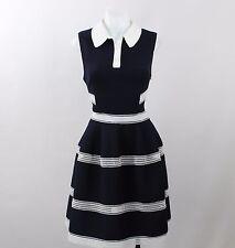 NWT Designer's Remix Navy Blue Peter Pan Collar Sleeveless Poof Dress Size 36/2