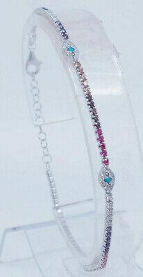 925 Silver Multi Colored CZ Bracelet