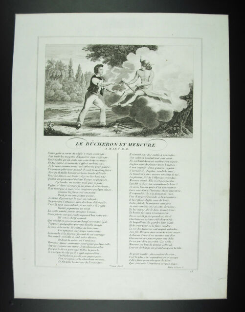 The Lumberjack And Mercury IN M. C. D.B.Fables Jean of Fountain 1834 Engraving