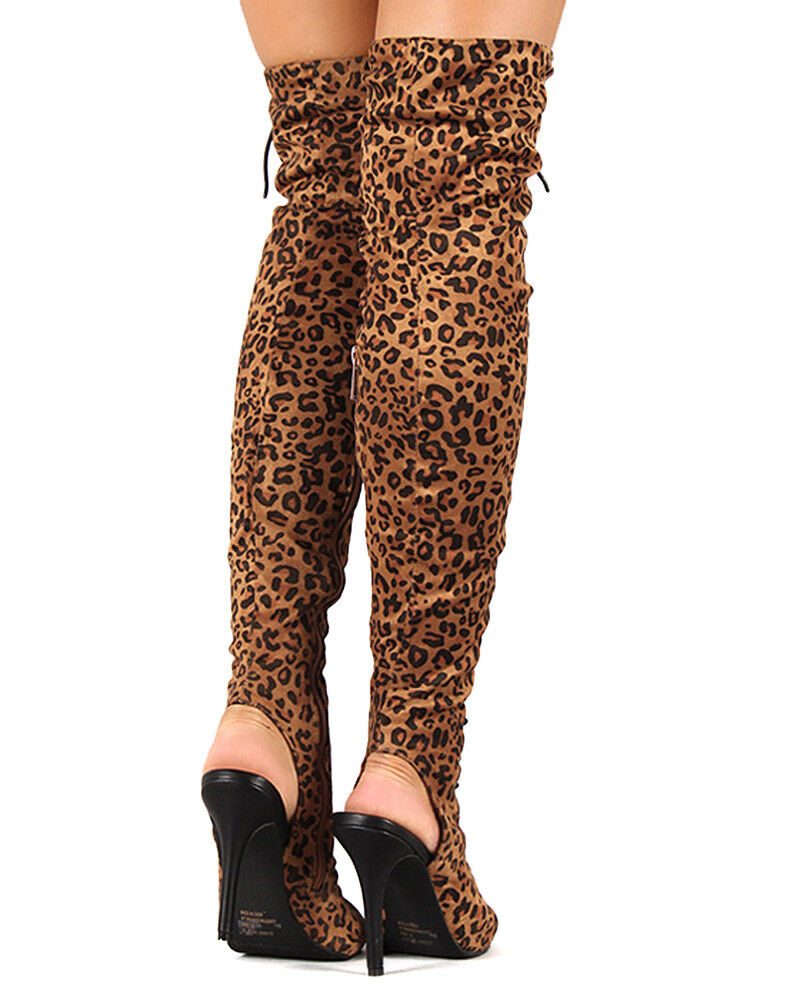 Breckelles Randi-23 New Women Leopard Lace Up Back Cut Out Thigh High Boot