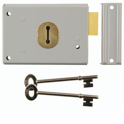Rim Dead Lock Double Handed Grey 104 x 80 mm porte Impasse Portes Hangars 2 clés