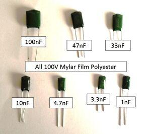5 100v Polyester Capacitor 100nf 10nf 1nf 47nf 33nf 4 7nf