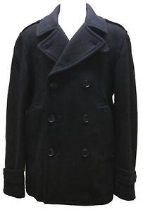 488fb989438 Coach 82027 Men s Wool Peacoat Short Jacket Navy Blue Classic Double ...
