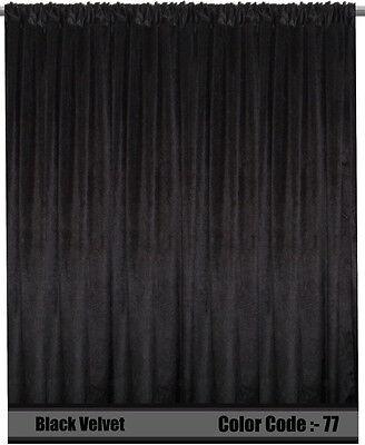 Saaria 12/'W x 10/'H Thermal Blackout Curtains Velvet Panels Saaria Drape Black