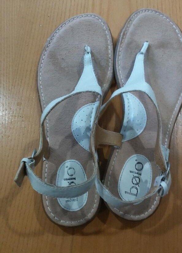 Bolo Women White 11 Strap Thong Sandals Size 11 White M a1649c