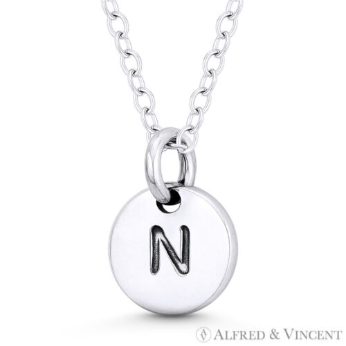 """Initial lettre /""""N/"""" 11mmx8mm Tiny Round Disque .925 Sterling Silver Charm//Pendentif"""