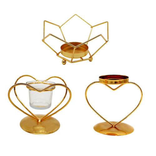 1pcs Candlestick Geometric Iron Hollow Golden Tealight Candle Holders NEW