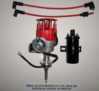 Mopar Small Block 273-318-340-360 Red Small Cap Hei Distributor + Black 45k Coil