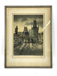 Antique Colored Etching Prague Hand Signed Framed Print