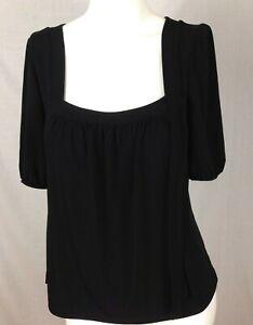 ANN-TAYLOR-LOFT-Women-039-s-Knit-Top-Small-Black-Short-Sleeve-Stretch-S-Square-Neck