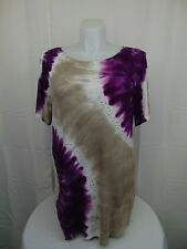 INC International Concepts Plus Size Short Sleeve Tie Dye Studded Top 2X #3809