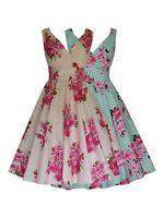 Rose Floral Vintage 50's Wedding Bridesmaid Party Prom Tea Dress Cotton New 8-20