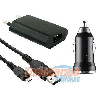 CARGADOR 3 EN 1 COCHE CASA + CABLE DATOS MICRO USB PARA BQ AQUARIS E6 HD
