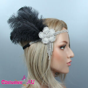 1920s-Headband-Black-Feather-Bridal-Great-Gatsby-20s-Flapper-Headpiece-Gangster