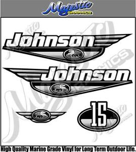 Johnson 15hp Grey Decal Set Outboard Decals Ebay