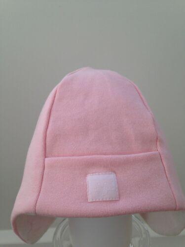 Baby Girls Hat  Pink 97/% soft cotton cream fleece lining 6 months